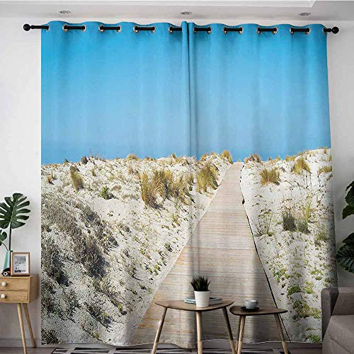 Onefzc Indoor/Outdoor Curtains,Seaside Decor Collection Footpath on Le Dune Beach in South of Sardinia Island Italian Style Peaceful Calm Hours,Grommet Curtains for Bedroom,W84x108L,Cream Blue