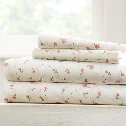Pink Patterned - Becky Cameron Soft Floral Patterned 4 Piece Sheet Set, King, Pink