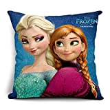 TheOne/4059 Cotton Linen Throw Pillow Case Square Decorative Cushion Cover 3D Cartoon Frozen Princess Elsa Anna 18in X 18in