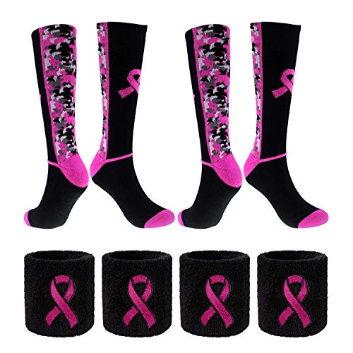 Breast Cancer Awareness Pink Ribbon Socks & Wristbands Set - 2 Pairs Athletic Digital Camo Crew Socks+ 4 Pcs Wrist Sweatbands