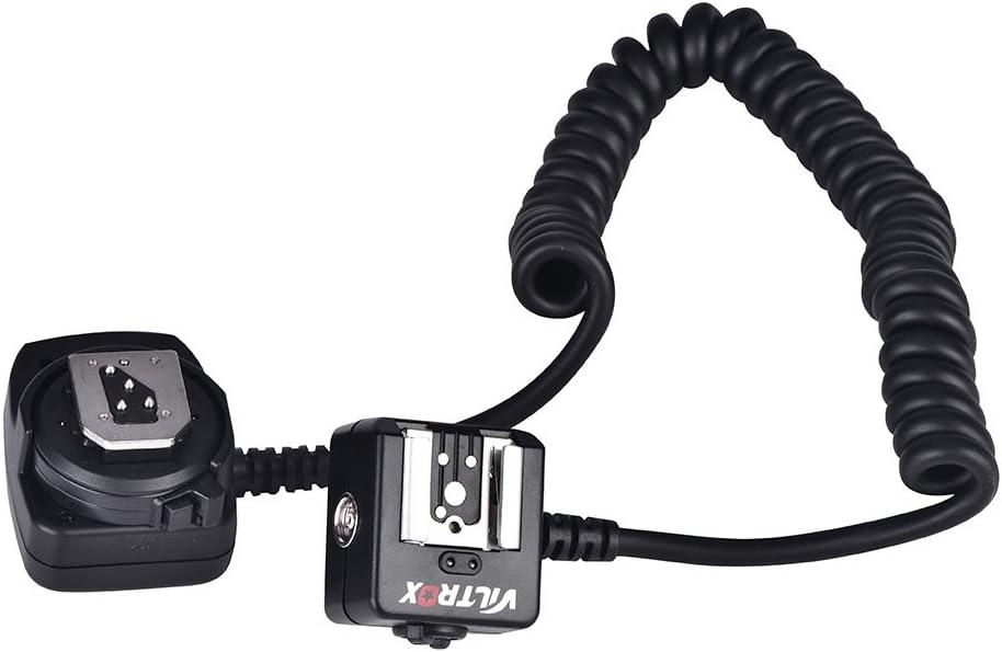 Entatial Cable de extensión de sincronización de Flash Fuera de la cámara ttl con luz Auxiliar para Nikon Hot Shoe 0,8 m Accesorio de fotografía Negro