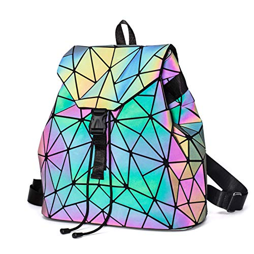 Geometric Holographic Backpack for Women - Hologram Purse and Back Pack Shard Lattice Shoulder Bag Luminous Casual Daypack Fashion Travel Rucksack, NO.2