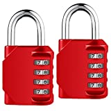 Combination Lock, 4 Digit Combination Padlock for Gun Case, Gym & Sports Locker, School, Employee, Case, Fence, Toolbox, Hasp Cabinet & Storage [2 Pack] (Red)