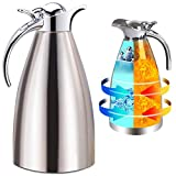 Panesor Thermal Coffee Serving Carafe Insulated 68 Oz/2L, Vacuum Stainless Steel Tea Carafe Hot Coffee Pitcher Double Walled (2.0L)