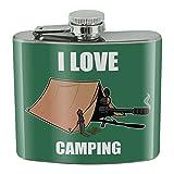I Love Camping Sniper Shooting Gaming Gamer Stainless Steel 5oz Hip Drink Kidney Flask