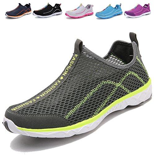 Adituo Mujeres Hombres Water Zapatos - Perfecto Para Aqua Deportes Acuáticos - Mesh Quick Drying - Ligero, Cómodo Y Transpirable Gris