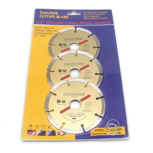 3 x 115mm Diamond Cutting Discs 4.5″ Angle Grinder Blade, Brick Stone & Concrete For Sale