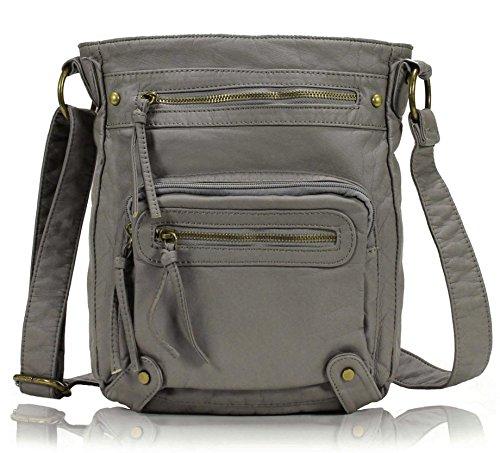 Scarleton Washed Multi Pocket Crossbody Bag H169324 – Ash