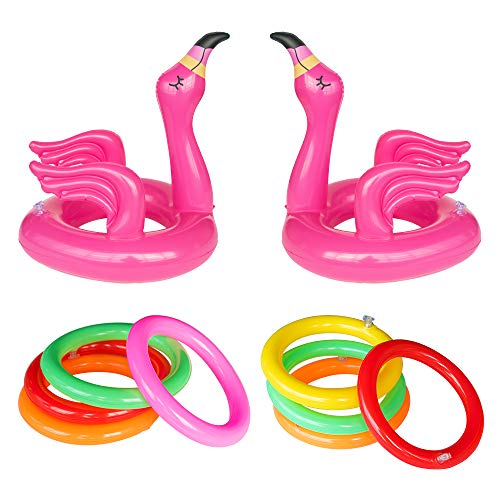 2 Packs Flamingo Ring Head Toss Pool Party Games Inflatable Flamingo Hat Pool Toys, 8 Pieces Inflatable Floating Swimming Rings for Pool Beach Luau Party Favors Water Fun]()