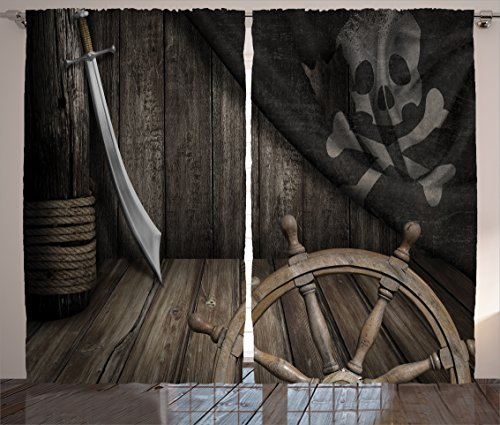 Ships Wheel Decor Curtains by Ambesonne, Steering Wheel with Old Jolly Roger Flag and Saber in Pirates Ship Control Room Art Print, Living Room Bedroom Decor, 2 Panel Set, 108W X 90L Inches, (Pirate Decoration)