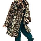 Shilanmei Women's Leopard Sexy Faux Fur Jacket Coat Long Sleeve Winter Warm Fluffy Parka Overcoat Outwear Tops (US XS/ASIN S)