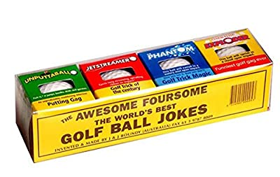Awesome Pack of 4 Assorted Trick Novelty Gag Golf Balls