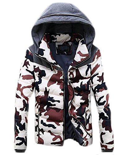 Hokny TD Mens Winter Zip Packable Hooded Parka Coat Padded Jacket