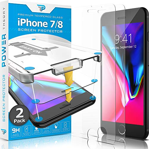Power Theory iPhone 8 / iPhone 7 Glass Screen Protector [2-Pack] with Easy Install Kit [Premium Tempered Glass]