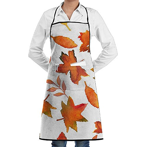I Love Leaf Autumn Leaves Classic Apron With Pocket Men & Women Kitchen Bib Chef Apron For Cooking Baking Gardening (River Twill Vest)