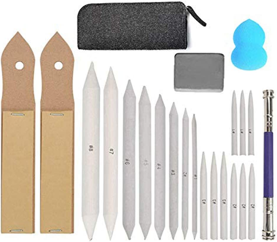 Sketch Drawing Tools, 17 Paper Blending Stump and Tortillions Set with 2 Sandpaper Pencil Sharpeners, 1 Pencil Extension Tool, 2 Erasers & 1 Felt Bag for Student Sketch Drawing Accessories