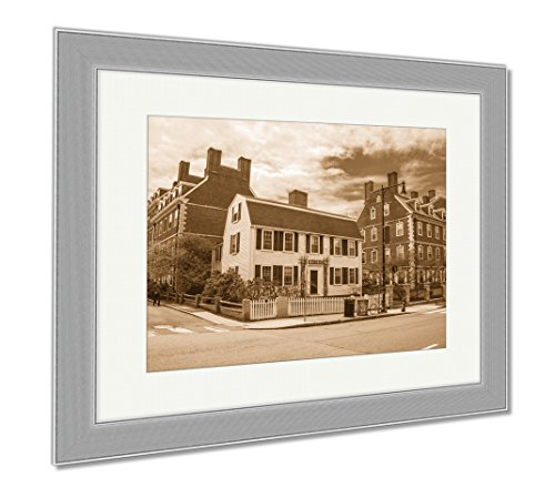 Ashley Framed Prints John F Kennedy Street In Harvard University Area Of Cambridge, Wall Art Home Decoration, Sepia, 34x40 (frame size), Silver Frame, - Ma Cambridge Framing