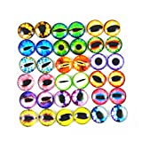 JulieWang 100PCS Wholesale in Bulk Assorted Round Glass Dragon Eye Covered Cabochons For Doll Making and Jewelry Settings (6mm)