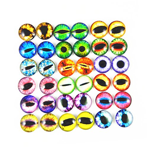 JulieWang 100PCS Wholesale in Bulk Assorted Round Glass Dragon Eye Covered Cabochons For Doll Making and Jewelry Settings - Round For Eyes Eyes Cat