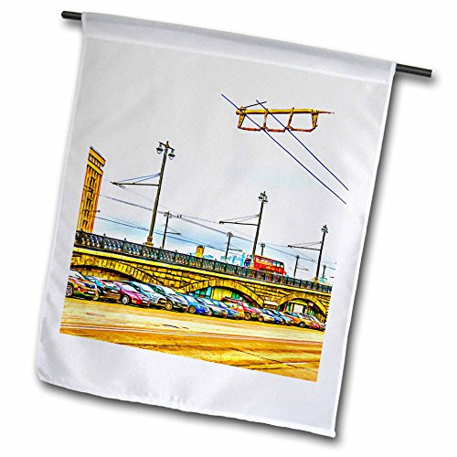 3Drose Alexis Photo Art   Moscow City   Line Of Cars By Moscow Large Stone Bridge  Digital Painting   18 X 27 Inch Garden Flag  Fl 272242 2