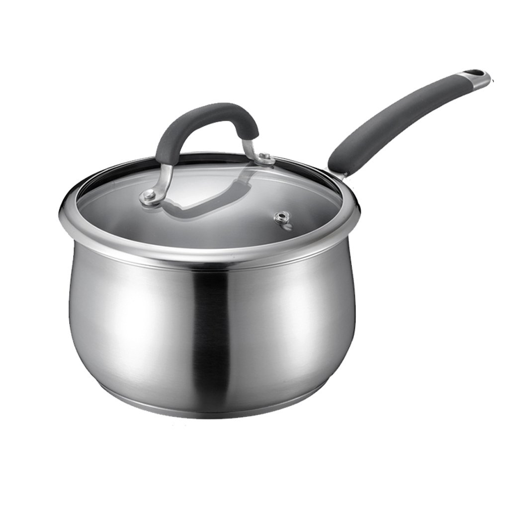 Soup pot 304 Stainless Steel Milk Pot Hot Milk Baby Food Supplement Double Bottom Thickening Mini Pot 16 / 18CM (Capacity : 2.7L)