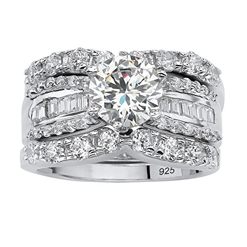 (Platinum over Sterling Silver Round and Baguette Cubic Zirconia Bridal Ring Set Size 7)