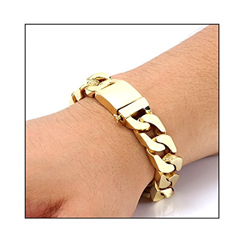 Gold Cuban Link Bracelet 14MM Round Solid Fashion Jewelry 24K Gold Filled Miami Cuban link Diamond Cut (9) by Hollywood Jewelry (Image #2)