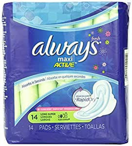 Always Maxi Clean Scent Pads with Wings, Long/Super, 14 Count (Pack of 6)