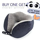 ROUTESUN Memory Foam Travel Pillow, Navy Blue Comfort Neck Pillow with 360 Head & Neck Support, Airplane Travel Kit with Ultra Plush Velour Cover, Panda Sleep Mask, Ear Plugs, Carry Bag