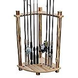 Rush Creek Creations Rustic Log 12 Fishing Rod Corner Rack - No Tool Assembly