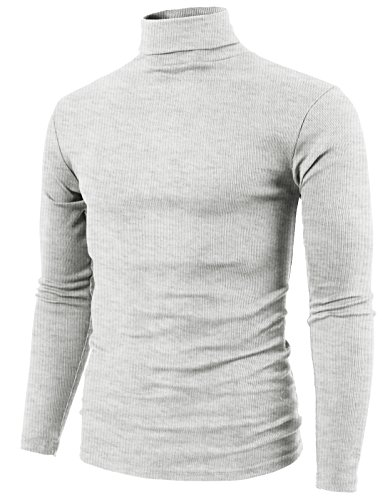 H2H Mens Easy Fashion Slim Fit Lightweight Turtle-Neck T-Shirt Offwhite US 2XL/Asia 3XL (KMTTL0410)