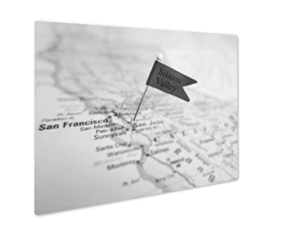 Amazon.com: Ashley Giclee Silicon Valley Flag Pin In A Map Of The ...