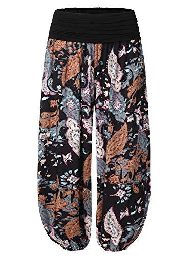 BaiShengGT Women's Floral Print Elastic Waist Harem Pants X-Large Black-Floral ()