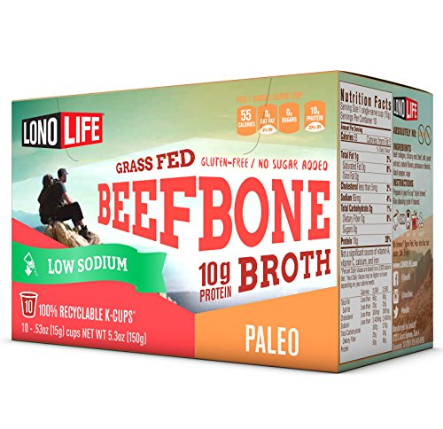 LonoLife Low Sodium Grass Fed Beef Bone Broth 10g Protein; 10 Count Paleo Snack for Keurig Style Brewer …
