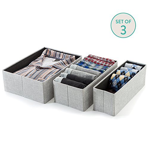 Foldable Closet Drawer Organizer (Gray Birch) - Set of 3- Storage Containers