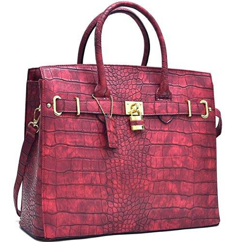 Dasein Faux Leather Padlock Structured Briefcase Satchel Handbag, Tablet, iPad Bag (New Style, K021006 - Burgundy) ()