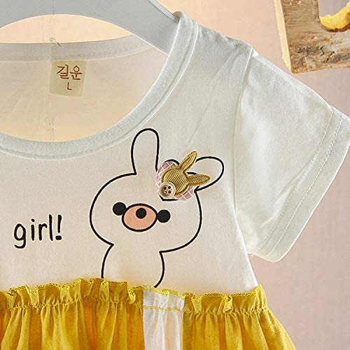 Dinlong Summer Infant Kid Baby Girl Short Sleeve Pure Color Cartoon Lovely Small Pig Pattern Letter Printed Dress