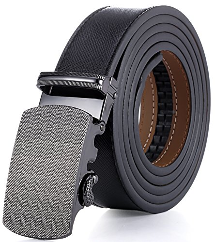 Marino Ratchet Leather Dress Belt For Men - Adjustable Click Belt with Automatic Sliding Buckle, Enclosed in an Elegant Gift Box - black -Adjustable from 38