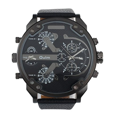 Creazy® Oulm Luxury Military Army Dual Time Quartz Large Dial Wrist Watch (Black)