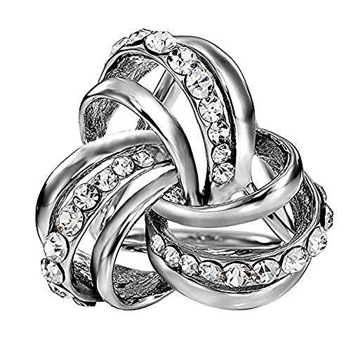 VIEEL Elegant Modern Simple Design Women's Triple-ring Diamante Metallic Silk Scarves Clip Scarf Ring Chiffon Buckle (silver) ()