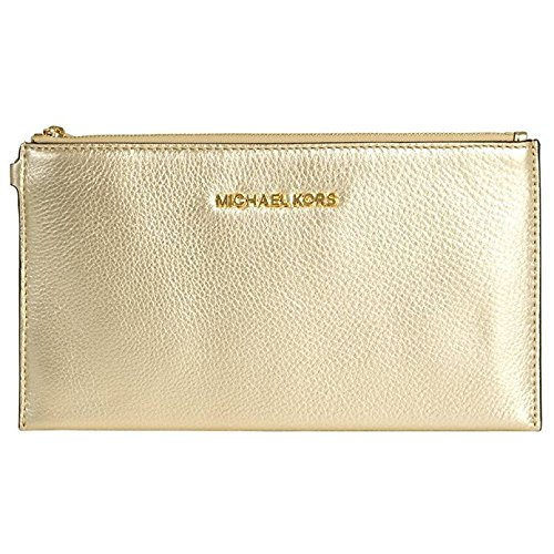 Michael Kors Pebbled Leather Bedford Lg Zip Clutch Wristlet in Pale Gold