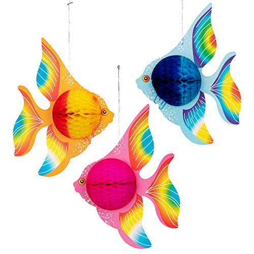 (12PCS Tropical Fish Party Decorations Supplies- Under-the-sea/Mermaid/Luau/Hawaiian/Kids)