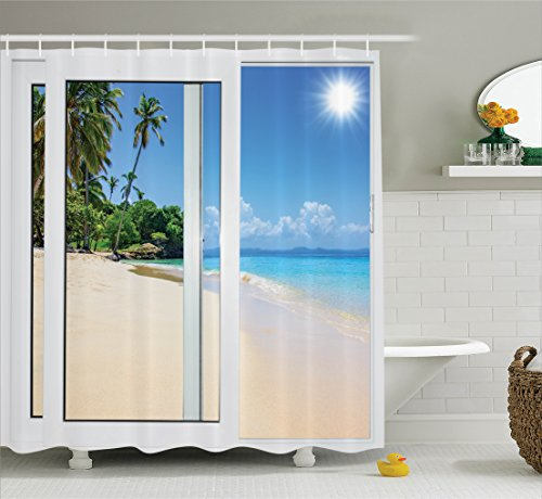 House Decor Shower Curtain Set By Ambesonne, Ocean View From The Window On The Island Scenery Traveling Destination, Bathroom Accessories, 69W X 70L Inches (Gift Easter)