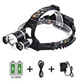 Sports Outdoors Best Deals - S&G® 5000Lumen CreeFlashlight XM-L XML 3 x T6 LED Torch Headlamp, 4 Modes Flashlight, Rechargeable Flashlight For Outdoor Sports Like Camping Hiking Fishing