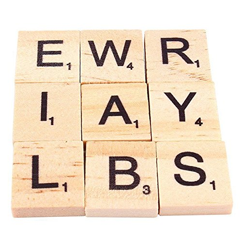 Xiaoxiao 100 pieces wooden scrabble tiles letter alphabet scrabbles number of crafts English words