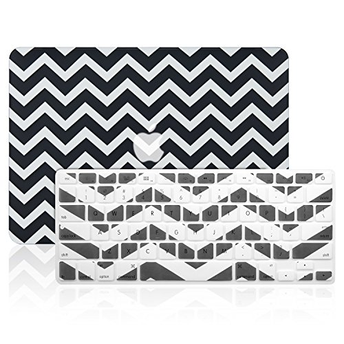 TOP CASE 2 in 1 - Chevron Series Hard Case Cover Plus Keyboard Cover Skin Compatible with Apple MacBook Air 13