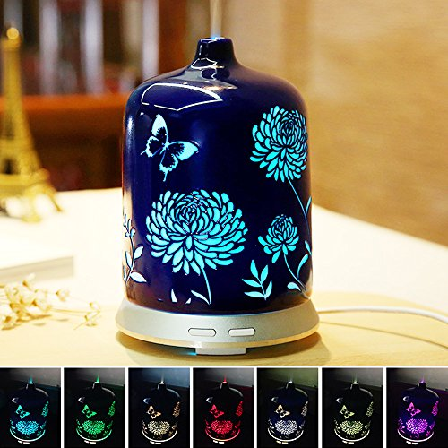 Ceramic Sapphire - Diffusers for Essential Oils,Ceramic Oil Diffuser,Aromatherapy Beauty Diffuser,Adjustable Cool Mist Ultrasonic Humidifier with Waterless Auto Shut-Off&7 Color Changing Lights (Sapphire Blue)