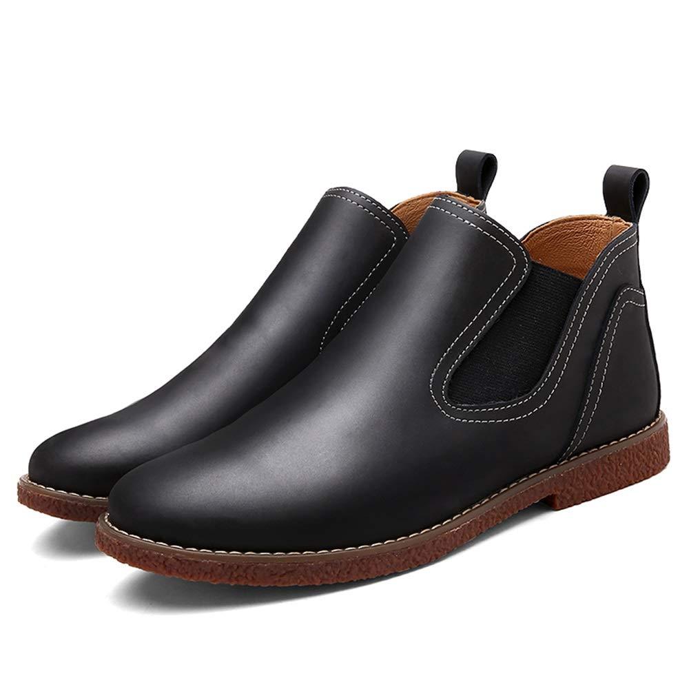 HILOTU Chelsea-Stiefel für Herren, Mode-Kleiderschuhe Britischer Stil Einfarbig Einfacher Slip-On-Stiefelette Slip-On-Stiefelette Einfacher b51868