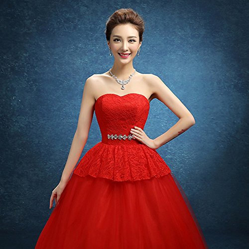 Dresses Drasawee A Sweetheart Strapless Red Rhinestones Wedding Tulle Long Line Bridal pprqTxwZz
