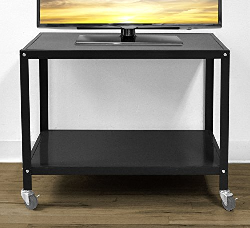 Urban Shop Rolling TV Cart, Black (Tv Cart Bar Stand)